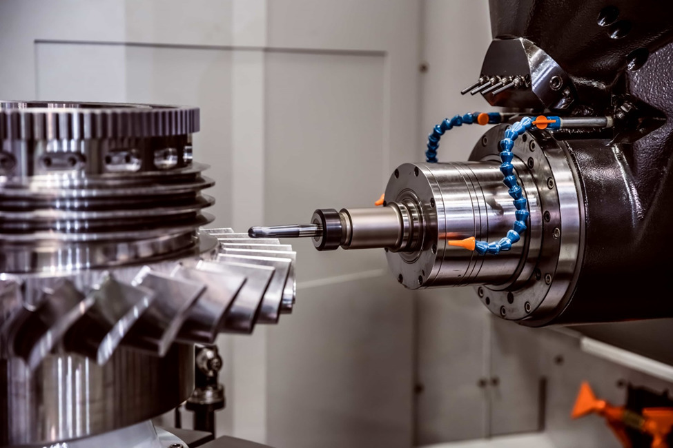 A-horizontal-CNC-milling-machine-performing-a-milling-operation-on-a-metal-part
